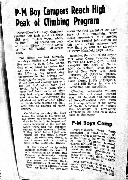 1966 newspaper article describing meetings with Ray Palmer, William Bowes Sr., Carol Gossard, and Portia Mansfield, regarding developing a climbing program in the Zirkel Wilderness as a specialty of P-M camp.