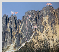 Rock Climbing Photo: The route and descent