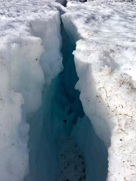 crevasse on the couloir névé.