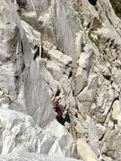 Rock Climbing Photo: Chris free soloing the rock route I took up past t...