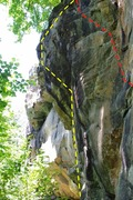 Rock Climbing Photo: Route Topos Yellow: The Stasis Chamber Red: Slit...