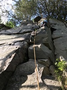Rock Climbing Photo: the line is the right crack.  Matt lead the left c...