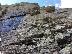 Rock Climbing Photo: Elisha Gallegos leading the first pitch.