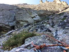 Rock Climbing Photo: The third pitch starts by crossing the 3rd class l...