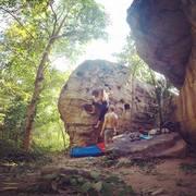 Rock Climbing Photo: Catia on Hueco Alley Boulder