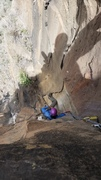 Rock Climbing Photo: Looking down from top of P3 belay. Layback visible...