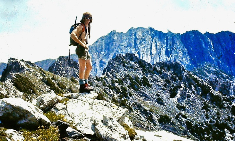 Keith on The Sawtooth Ridge with Mt. Zirkel in the distance, 1973.