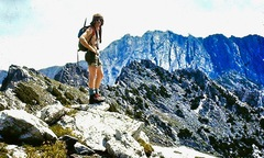 Rock Climbing Photo: Keith on The Sawtooth Ridge with Mt. Zirkel in the...