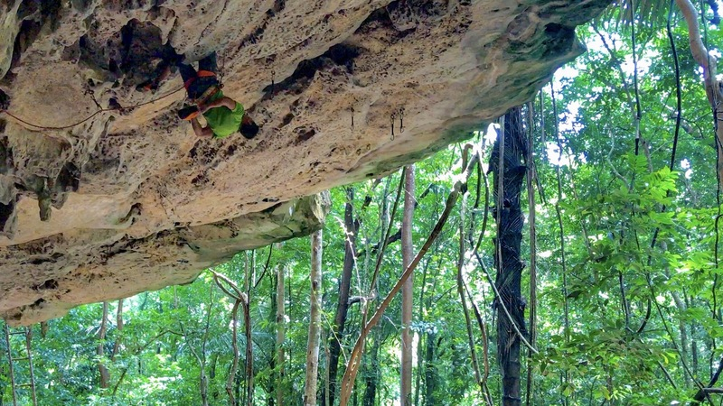 Rock Climbing Photo: Cliff T scoping out the next section from a no han...