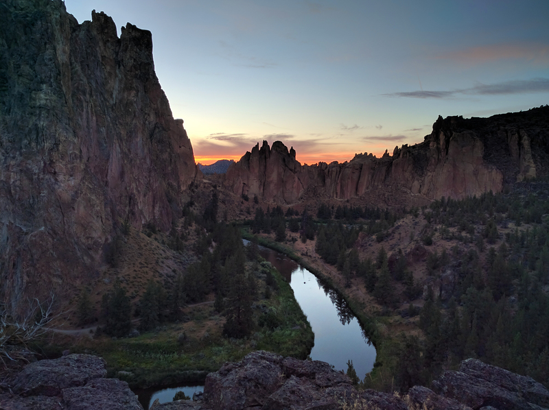 Smith Rock at sunset.