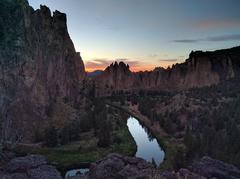 Rock Climbing Photo: Smith Rock at sunset.