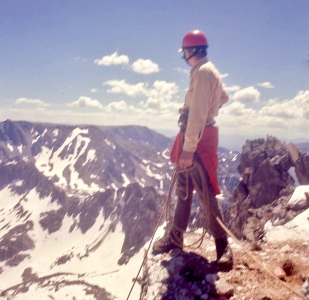 John McC on summit after short climb on the East side, 1968.