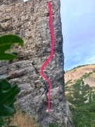 West face of Cretaceous Crag showing the route