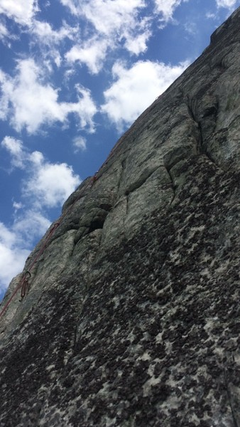 Looking up at the fantastic crux pitch