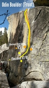 Rock Climbing Photo: (Yellow dots show starting hands) Start with left ...