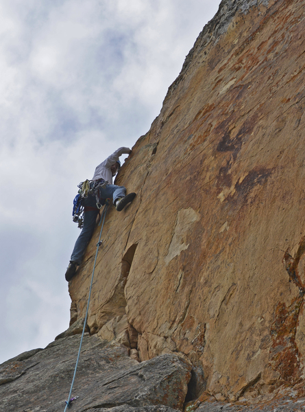 Leading the crux (just above the 3rd bolt)