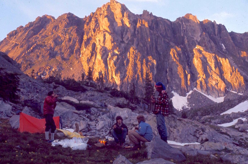 Sunset on our camp near the tarn below Mt. Zirkel, 1974.