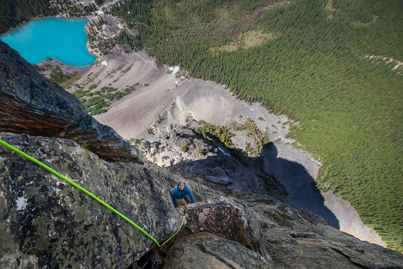 Rock Climbing Photo: Looking down from the outstanding last pitch, very...