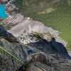 Looking down from the outstanding last pitch, very fun climbing in a beautiful position