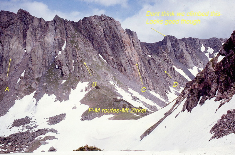 Some of the Perry-Mansfield routes on Mt. Zirkel from 1968 to 1975. Details will follow later. The photo was taken from Big Agnes saddle.