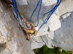 Rock Climbing Photo: Su Dude following Da Thin Man!! SPLITTER!!!