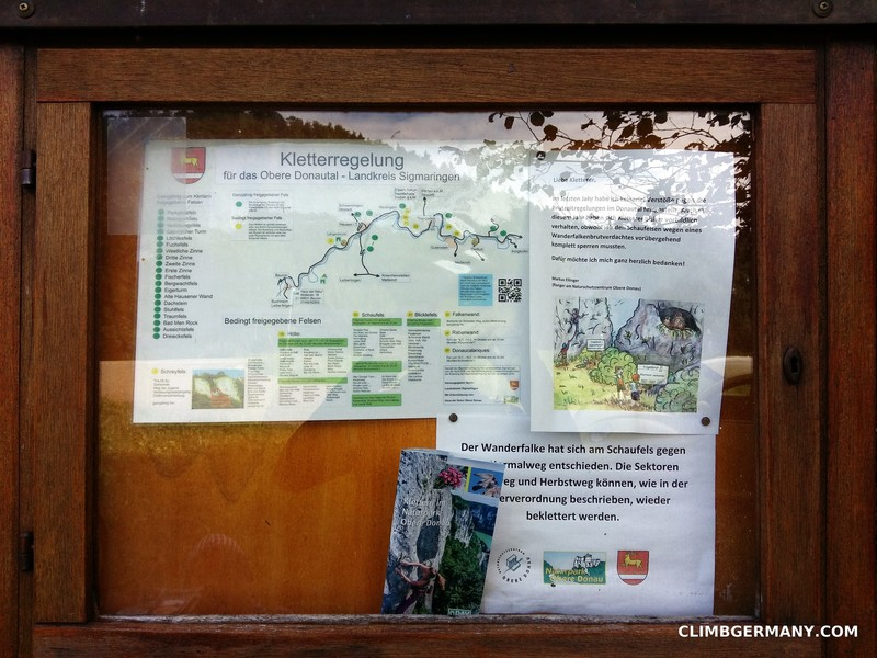 IG Kletter flyers on the info board with information on closures here and all other crags in the area. German only.