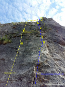 Rock Climbing Photo: Looking up at Bauemleswg and Muehlheimerweg from t...