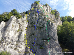 Rock Climbing Photo: Aussichtsfels, Hauptwand with the 3 main Genusskle...
