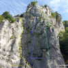 Aussichtsfels, Hauptwand with the 3 main Genussklettern/plaisir multipitch climbs illustrated.