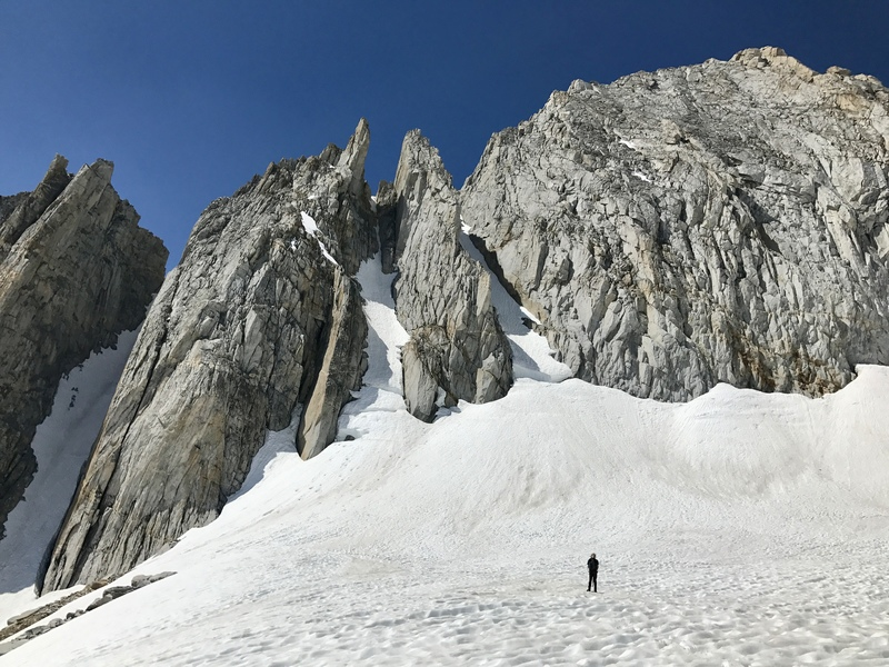 Rock Climbing Photo: July 15, 2017, a record snow year. The bergschrund...