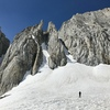 July 15, 2017, a record snow year. The bergschrund looks huge from the approach. In fact, it is 12 - 15 feet high and overhanging, not passable for me.