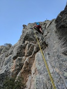 Rock Climbing Photo: Halfway up Lullabye League, about to swing out on ...