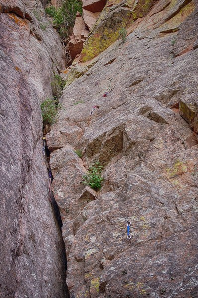 Rock Climbing Photo: Gear placement for Vixen. There's a cam way back i...