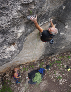 Rock Climbing Photo: Calvin summoning gorilla pinch strength through th...