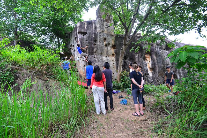 Bon from Khon Kaen Climbing Club  giving a beta to Temptation