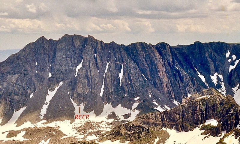 "I took this 1973 photo of the West Face  from Big Agnes with a long lens. I believe ""RCCR"" starts as noted."