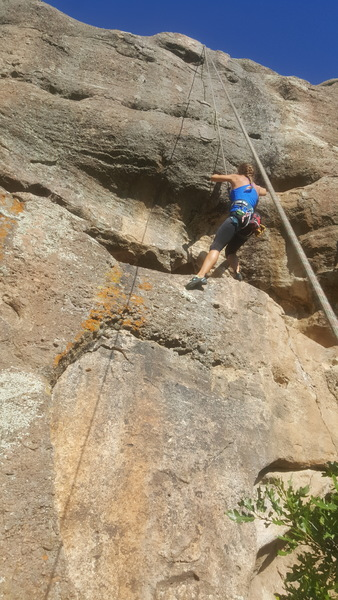 Rock Climbing Photo: Brit working the crux on Unknown, 5.10b (aka Meat ...