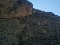 Rock Climbing Photo: Looking up at pitch 2 from the belay ledge.