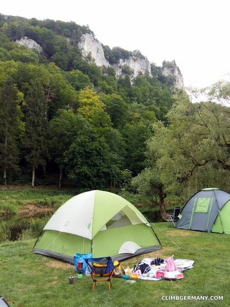 Camping Wagenburg, in the middle of Hausen im Tal, directly on the Danube river with good views of many different crags in all directions!