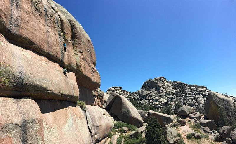 Rock Climbing Photo: Mike leading P2.