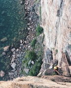 Rock Climbing Photo: Micaela climbing the upper half of Danger High Vol...