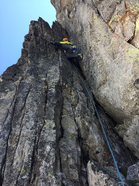 stemming the crux sequence on pitch 2