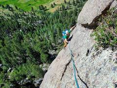 Rock Climbing Photo: Harrison on the slab traverse. I linked the P1 dih...