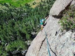 Rock Climbing Photo: Harrison on the slab traverse. I linked the P1 dih...