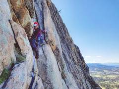 Rock Climbing Photo: Moving into the roof crux. Underneath the roof was...