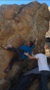 Rock Climbing Photo: Kenny using his left heel.