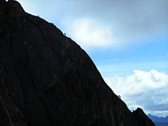 Rock Climbing Photo: Climbers on the last full pitch of SW Rib