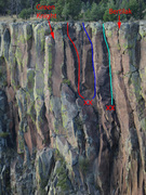 Rock Climbing Photo: Two Handed Flail is the solid blue. Arbalest is li...