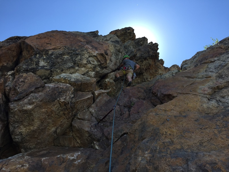 Rock Climbing Photo: Moving on up the route...