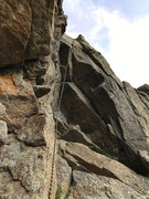 Rock Climbing Photo: 2nd pitch crux. The stemming is easier the taller ...